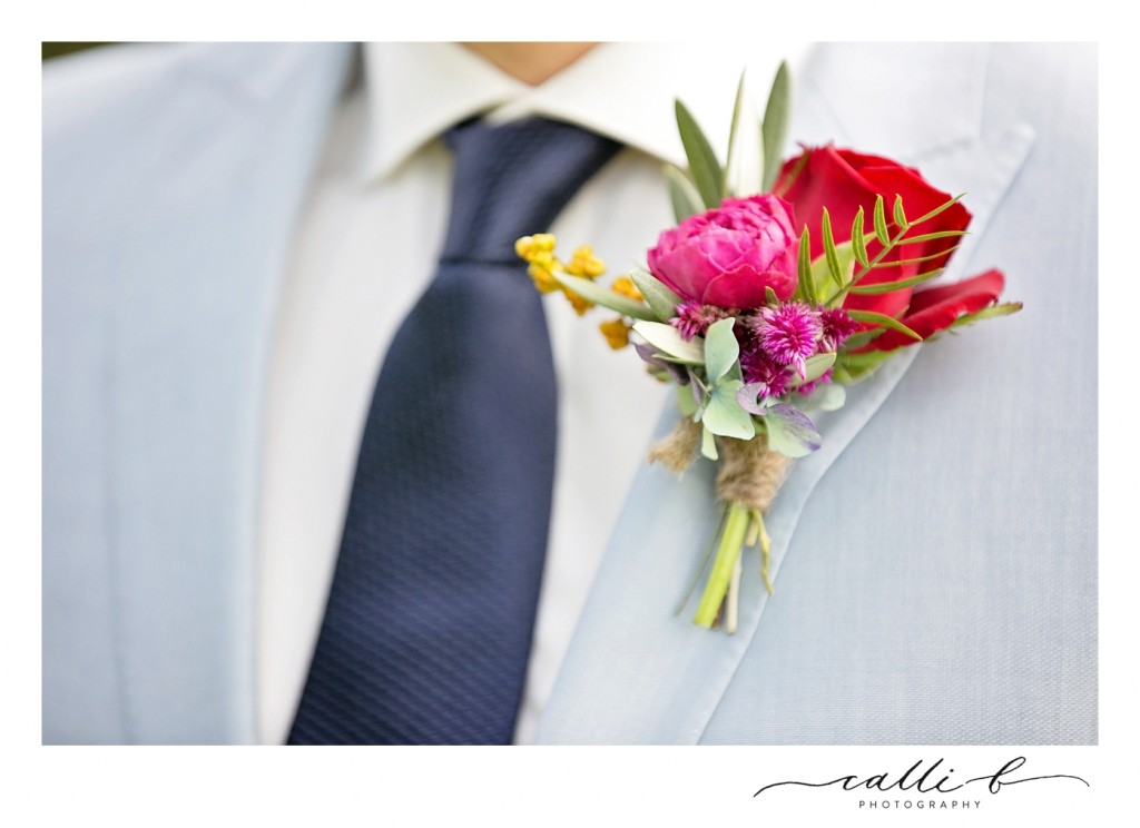 bright buttonhole featuring roses