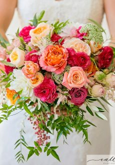 Bright Wedding flowers including roses