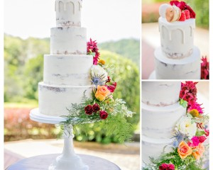 Semi Naked Cake by Cake Designs with feature florals