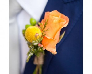 Areeba rose and Billy Button feature floral lapel design. Image by Karen Buckle Photography.