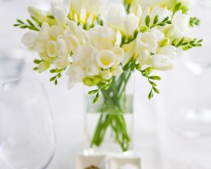 Glass vases with blooms
