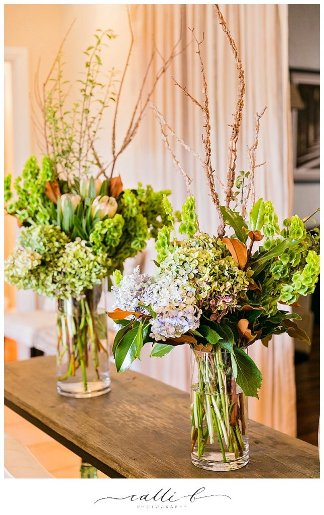 Vase arrangements featuring hydrangea and twisted willow