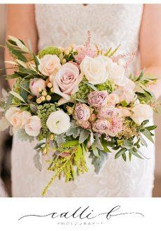 Gardenesque pastel wedding bouquet featuring roses