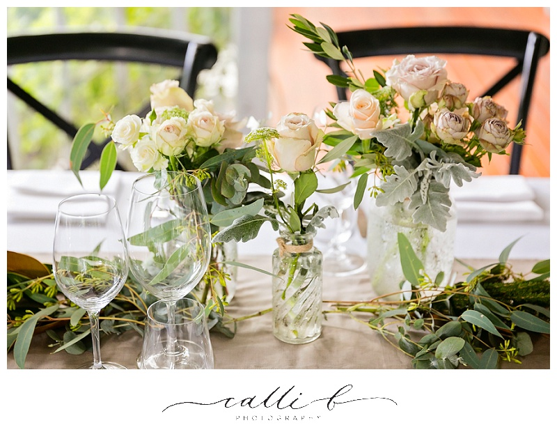 Eclectic jar reception flowers