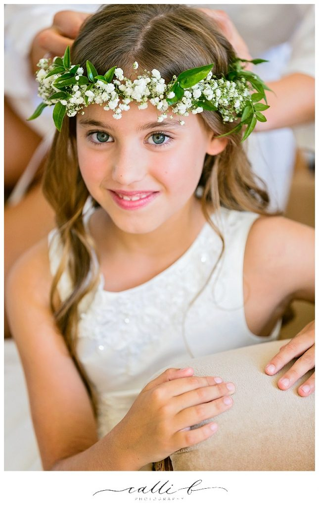 Flower girl halo with baby's breath and jasmine