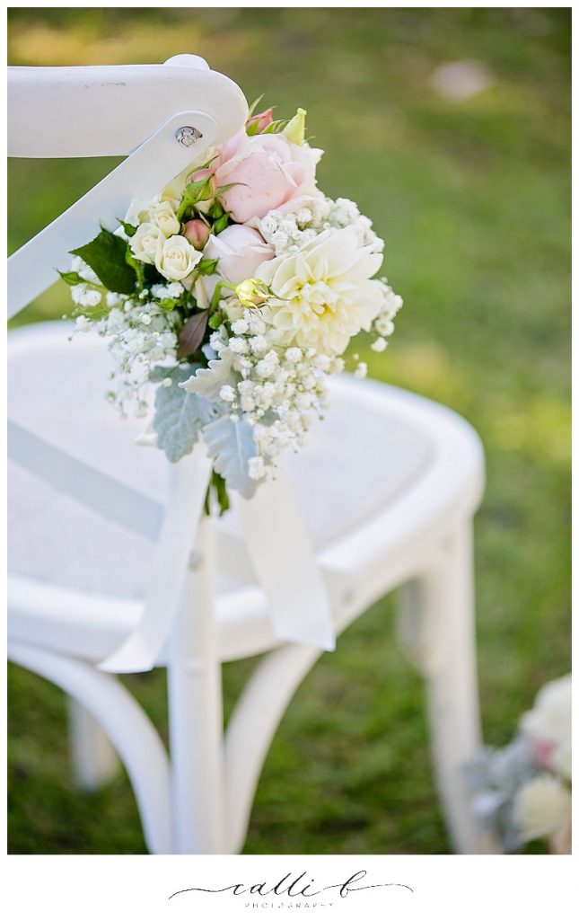 Chair Posies featuring dahlias and baby's breath