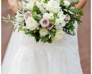 Rustic wedding bouquet featuring gum and Antique roses