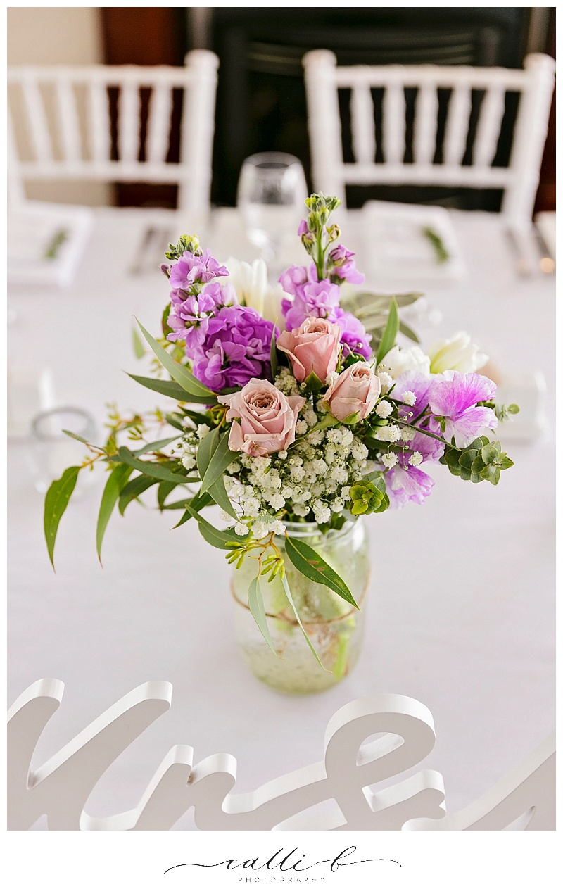 Reception flowers featuring gum and stock