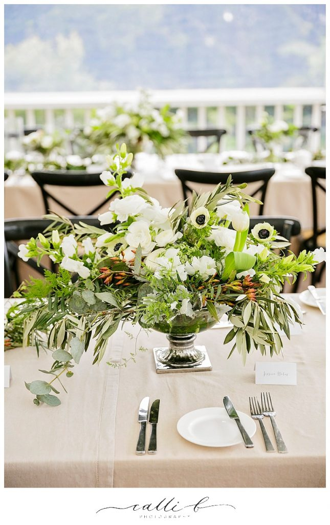 Chalice reception vases featuring olive branch and anemones