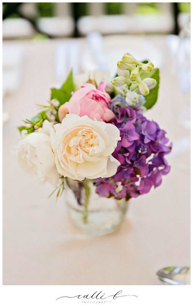 Reception vases featuring hydrangea
