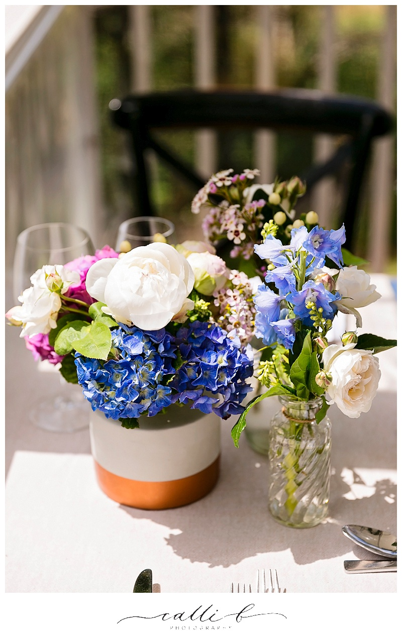 Reception vases featuring hydrangea and peonies