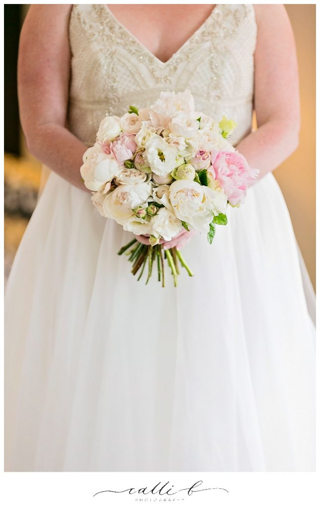Pastel wedding bouquet featuring David Austin roses and peonies