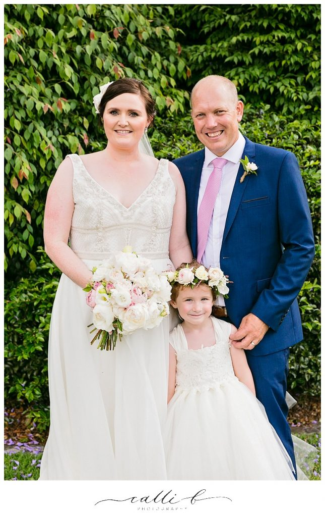 Pastel wedding bouquet featuring peonies and David Austin roses