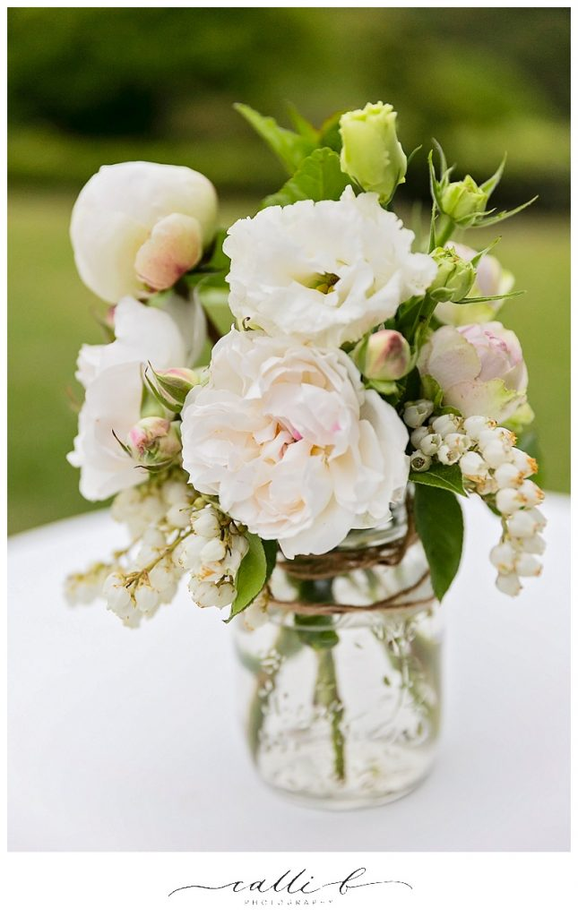 Mason jar flowers featuring David Austin roses and lisianthus