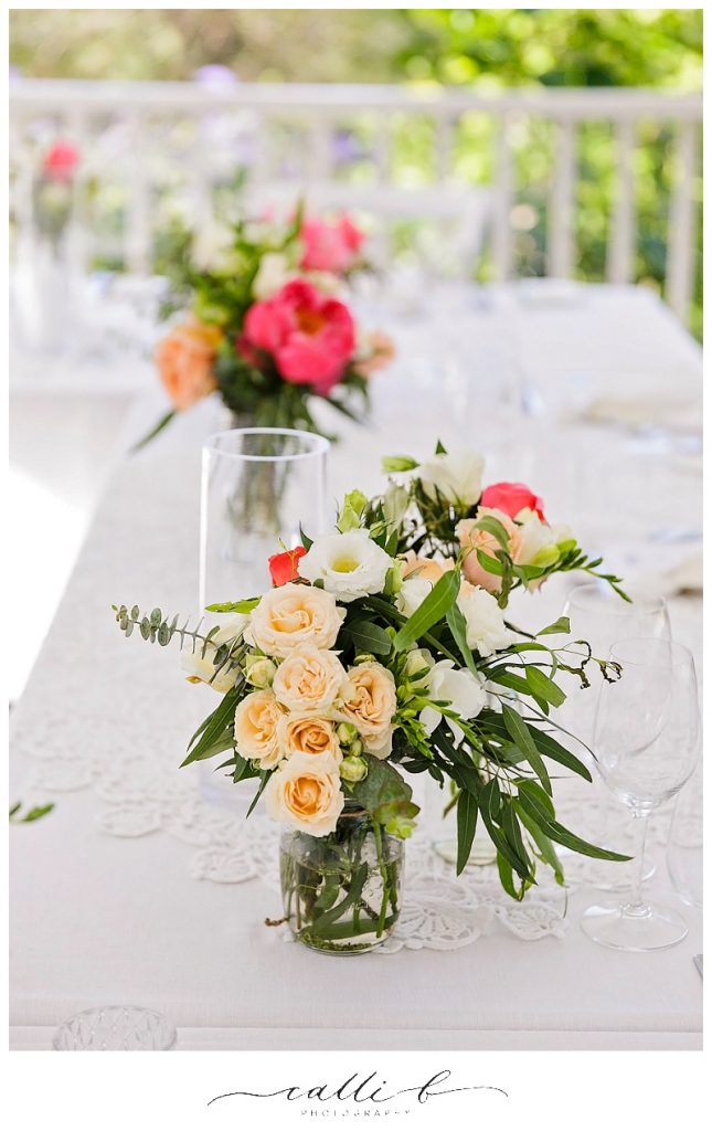 Mason jars featuring rustic flowers