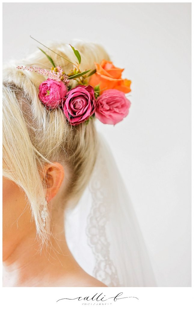 Bright hair flowers including roses