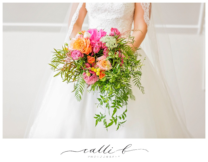 Whimsical bohemian wedding bouquet in bright tones
