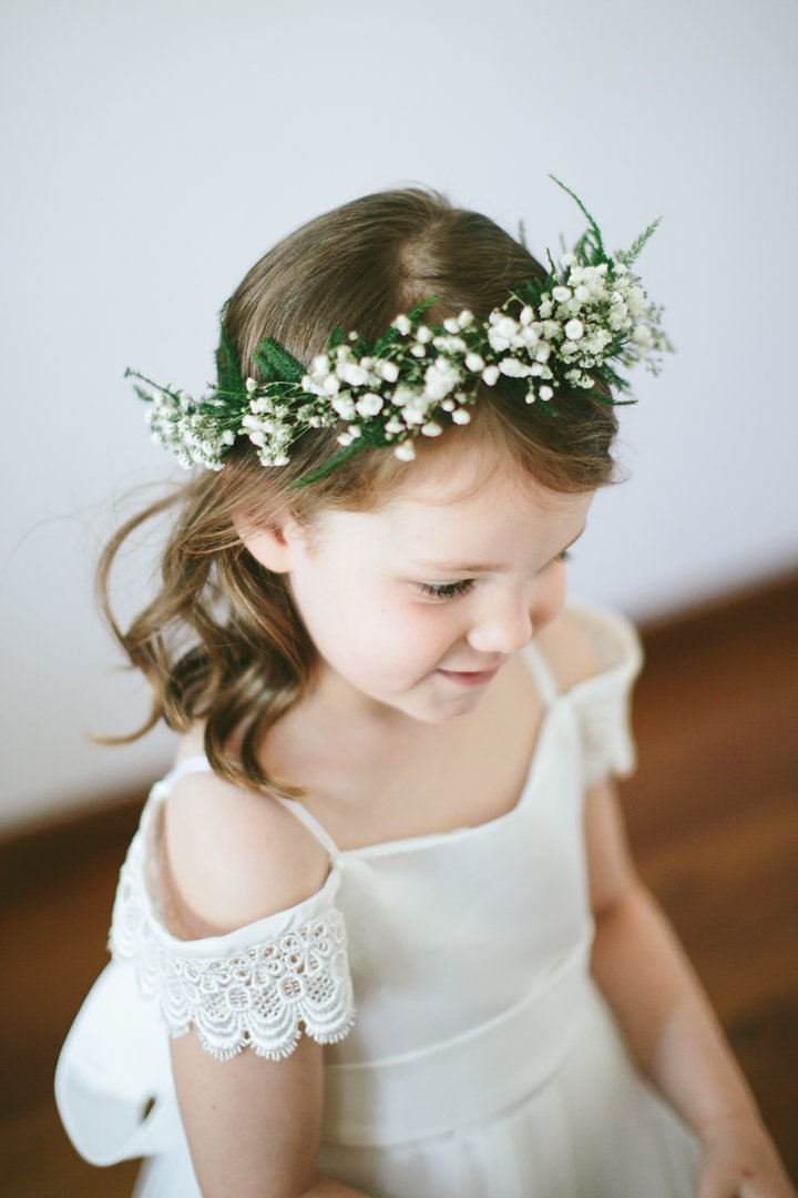 Flower girl halo featuring baby's breath