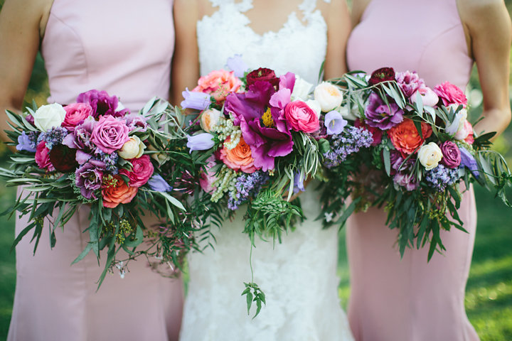 Bright country wedding flowers