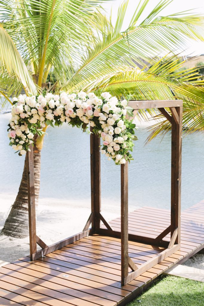 Ceremony arbour with floral feature