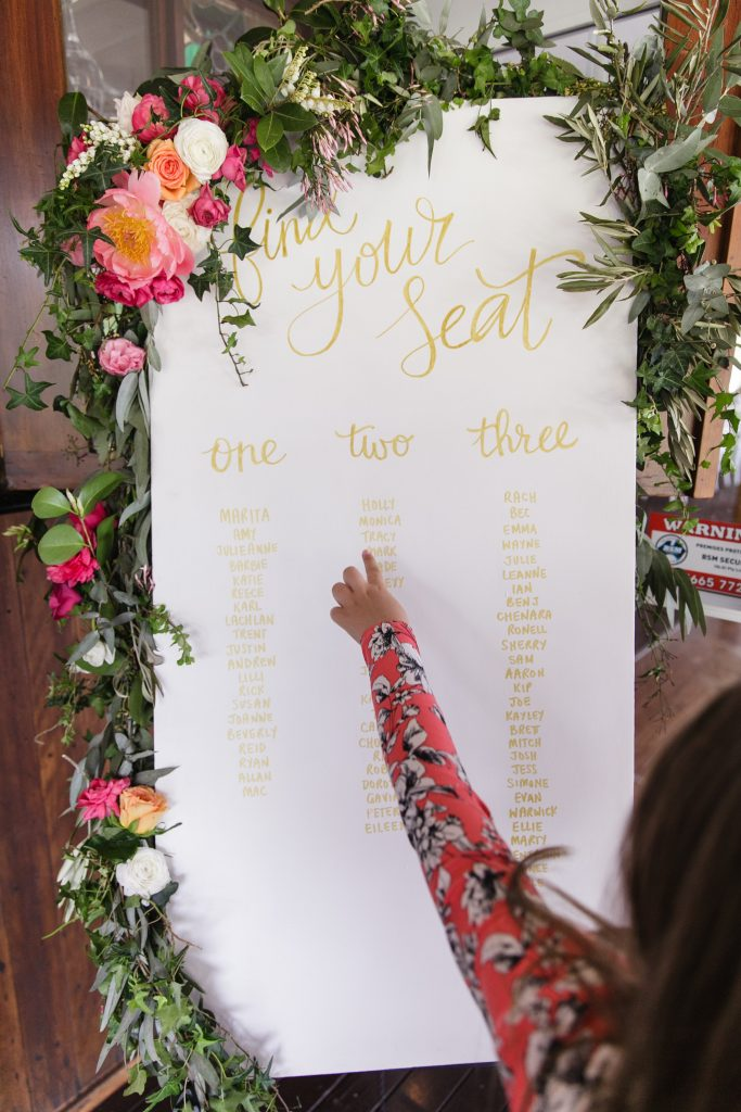 Whimsical seating plan floral design featuring peonies