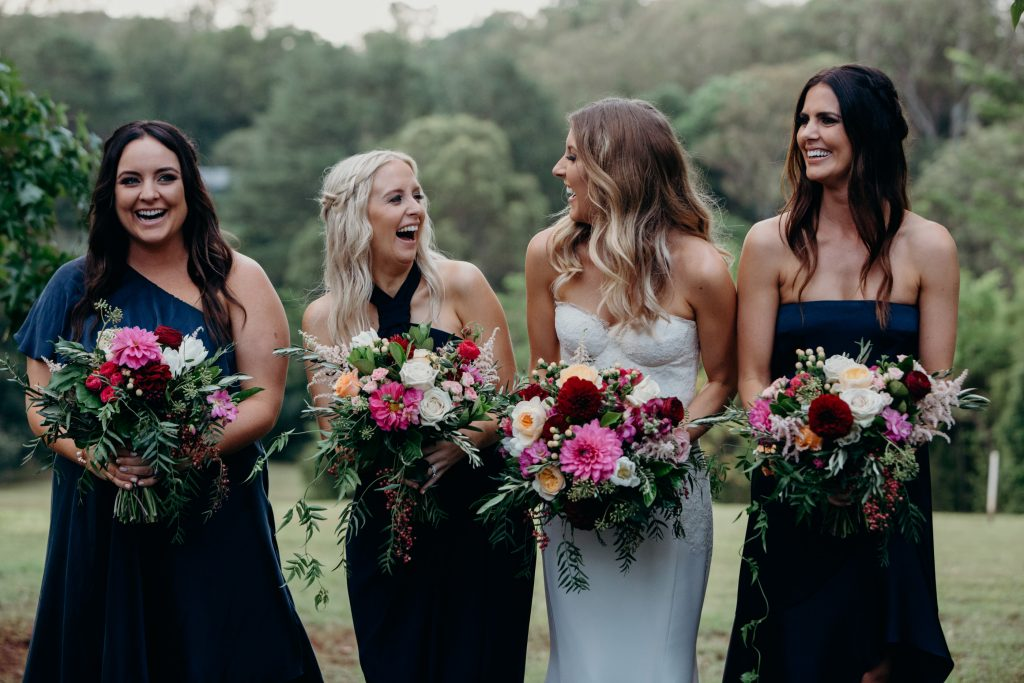 Whimsical wedding bouquets featuring dahlias