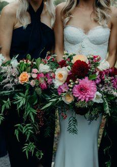 Rich wedding bouquets featuring dahlias