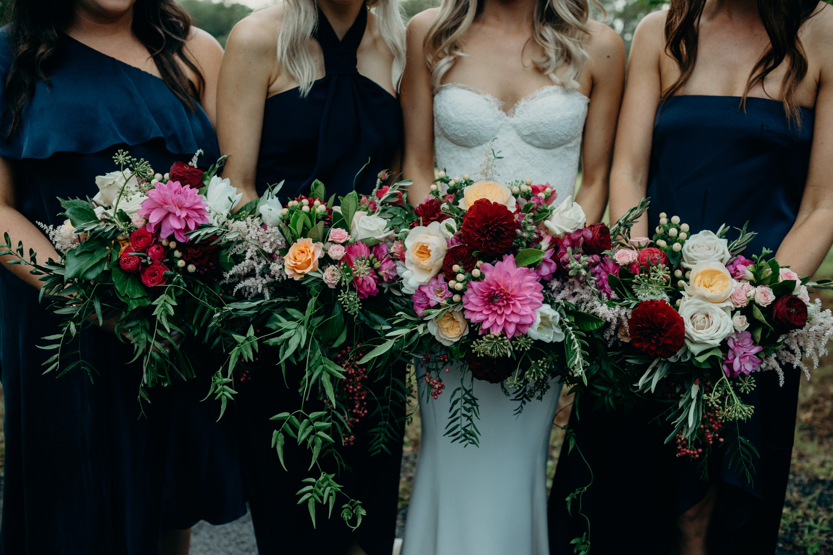 Rich Wedding Bouquets Featuring Dahlias