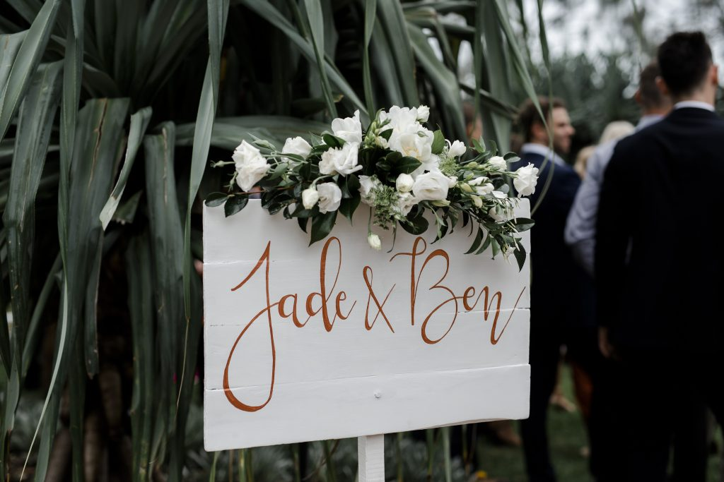 Entry sign flowers featuring lisianthus