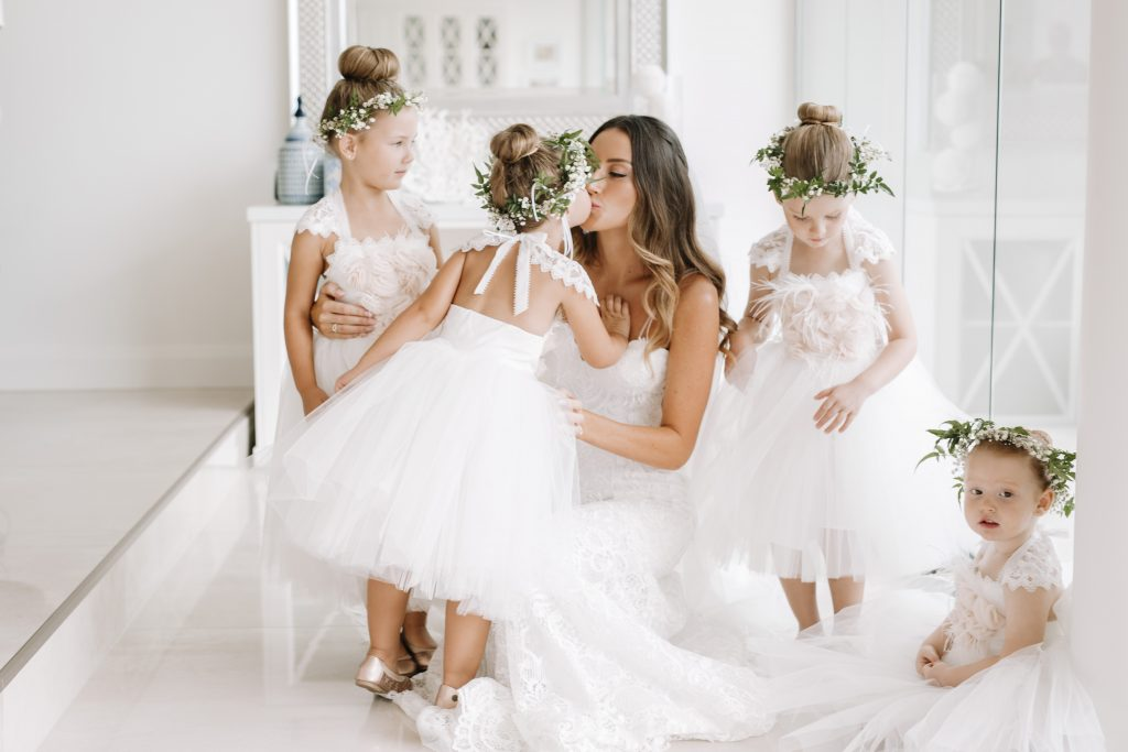 Flower girl halo's featuring baby's breath