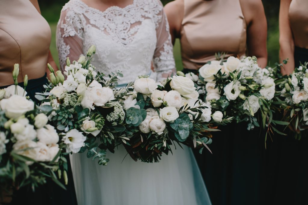 White David Austin Roses and Rustic Green