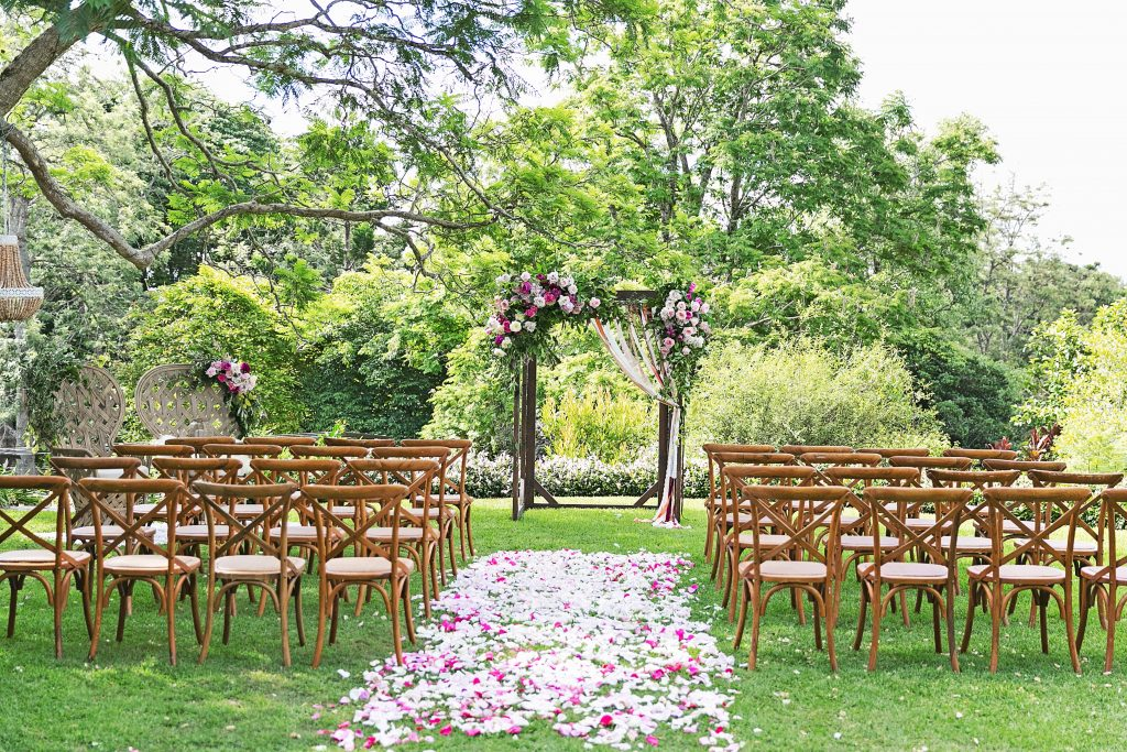 Ceremony arbour design including roses