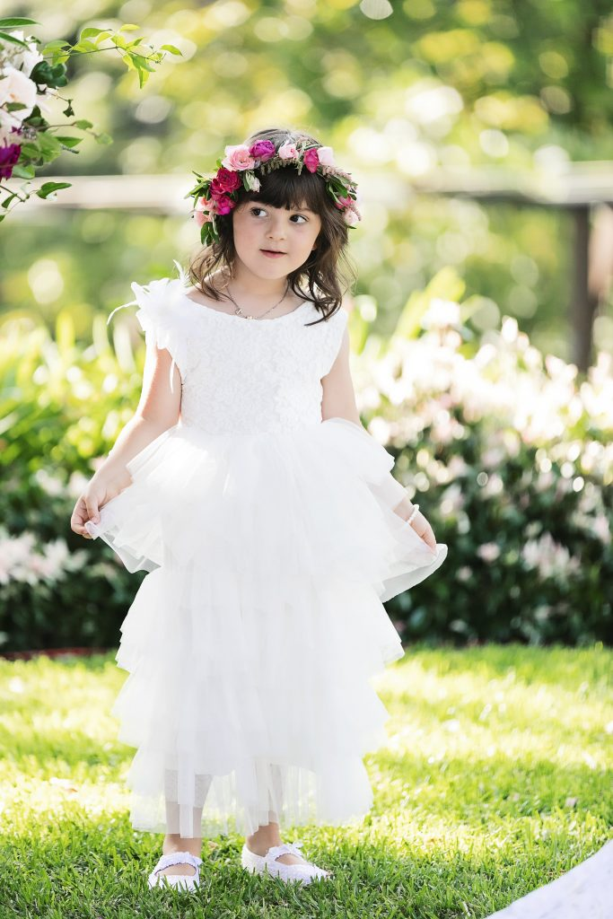 Flower girl halo featuring roses