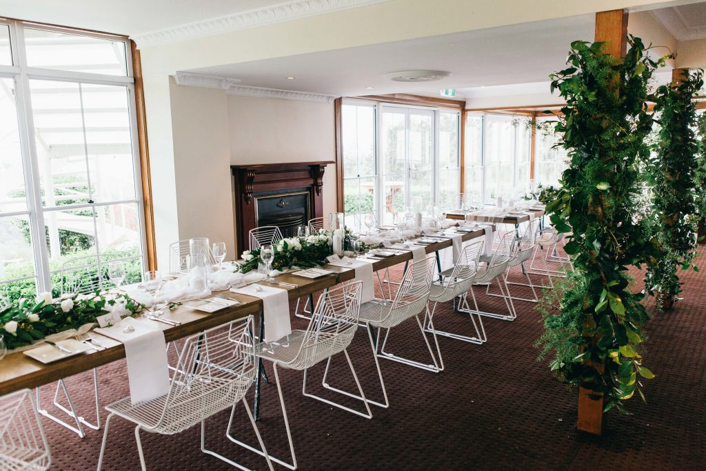 Greenery garlands with white blooms