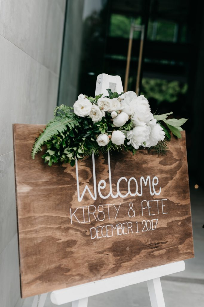 Entry sign floral design featuring David Austin roses