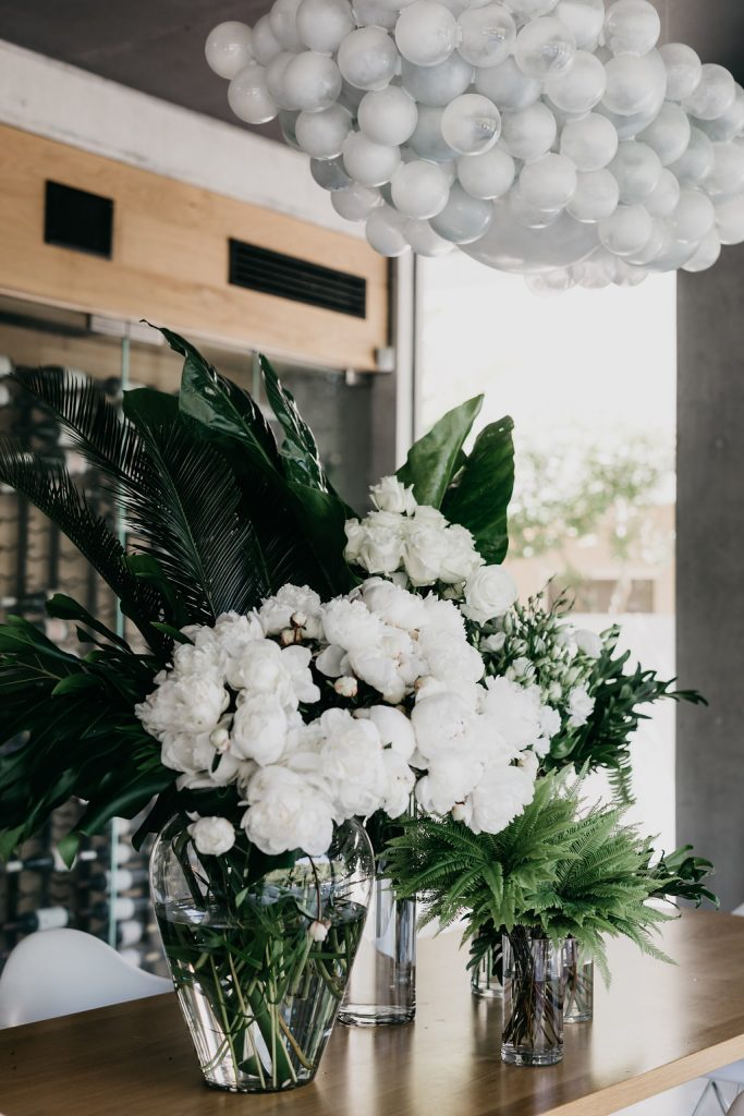 Modern Chic vases with white and green blooms