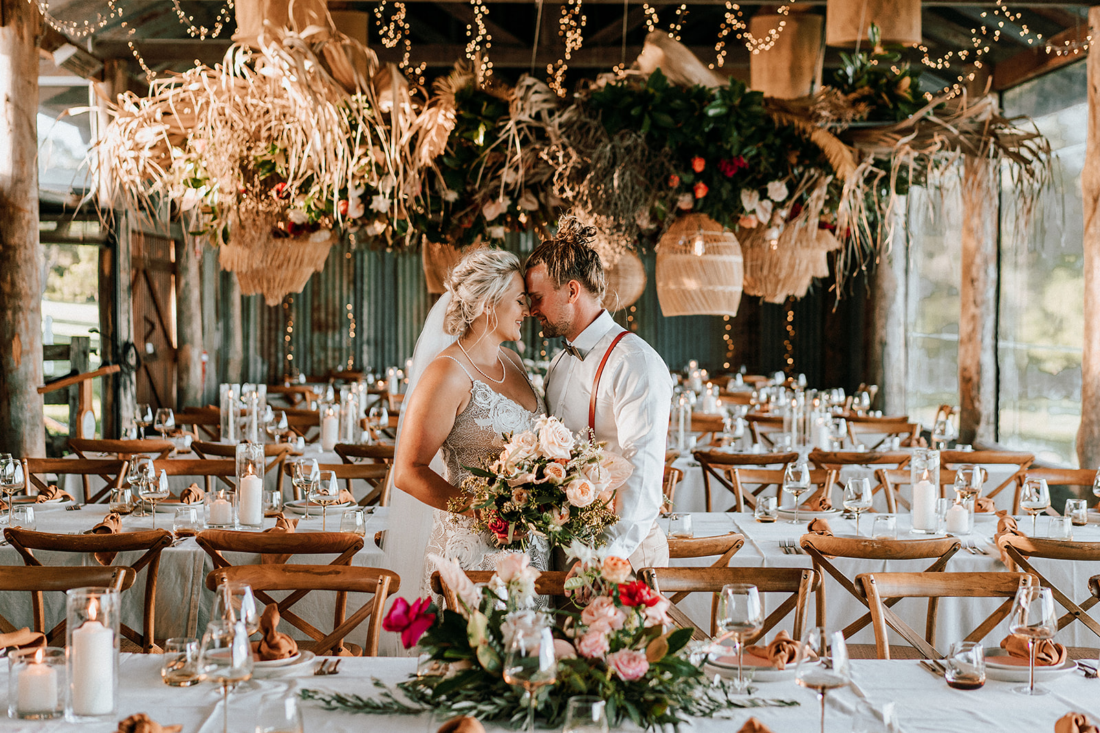 Boho luxe wedding flowers