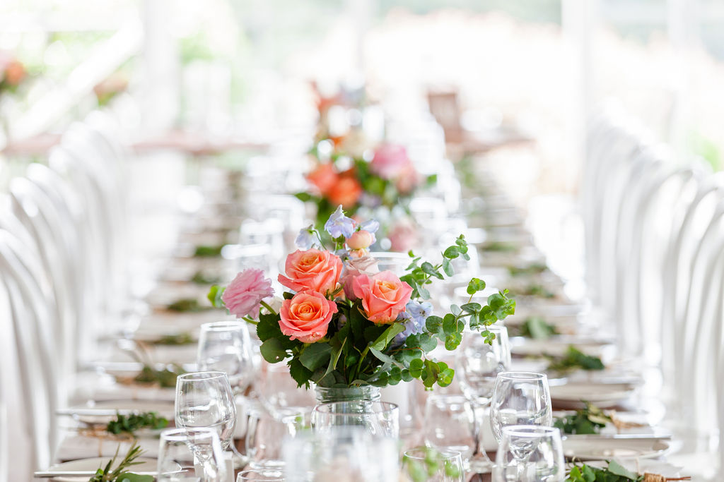 Reception jars featuring coral roses and gum