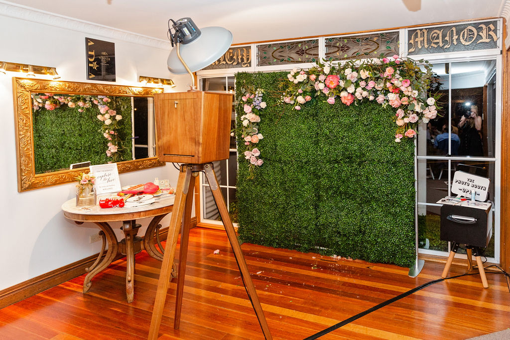 Photo booth with floral feature