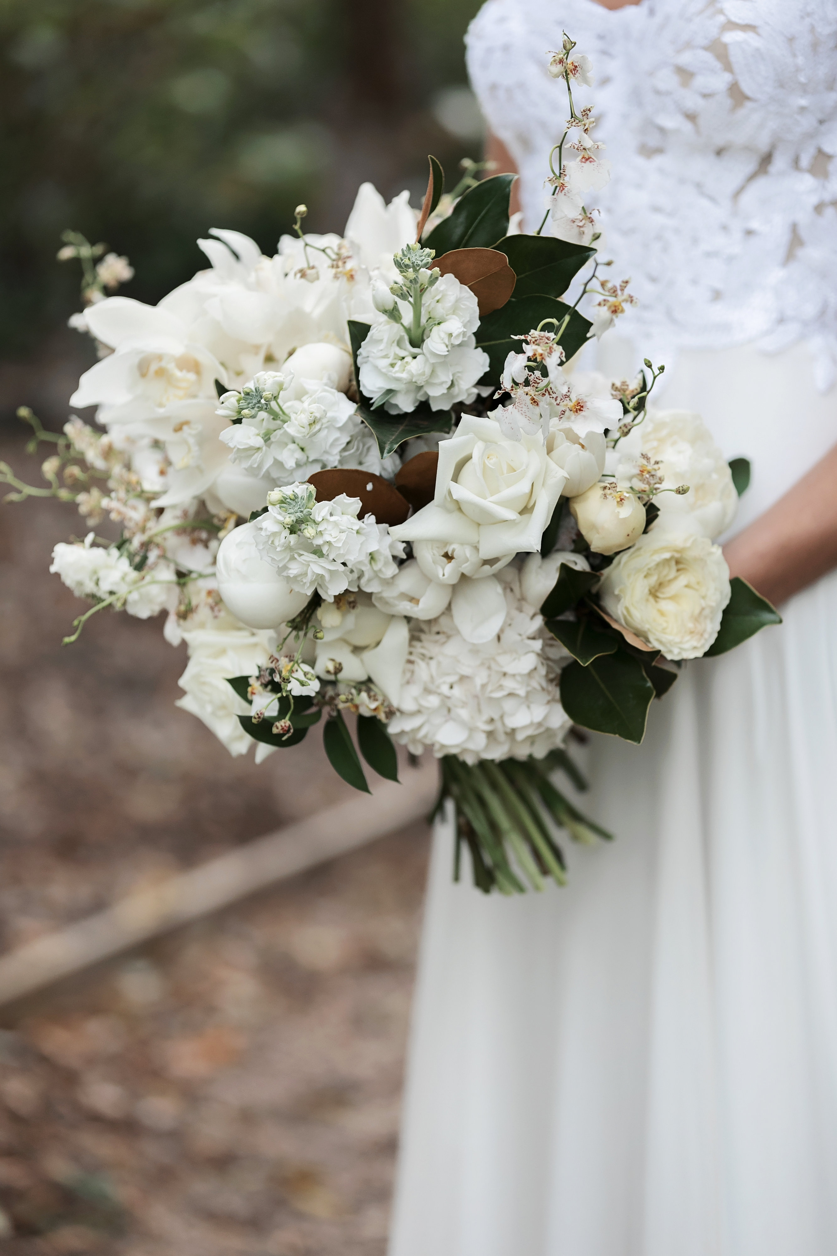 white wedding boquet