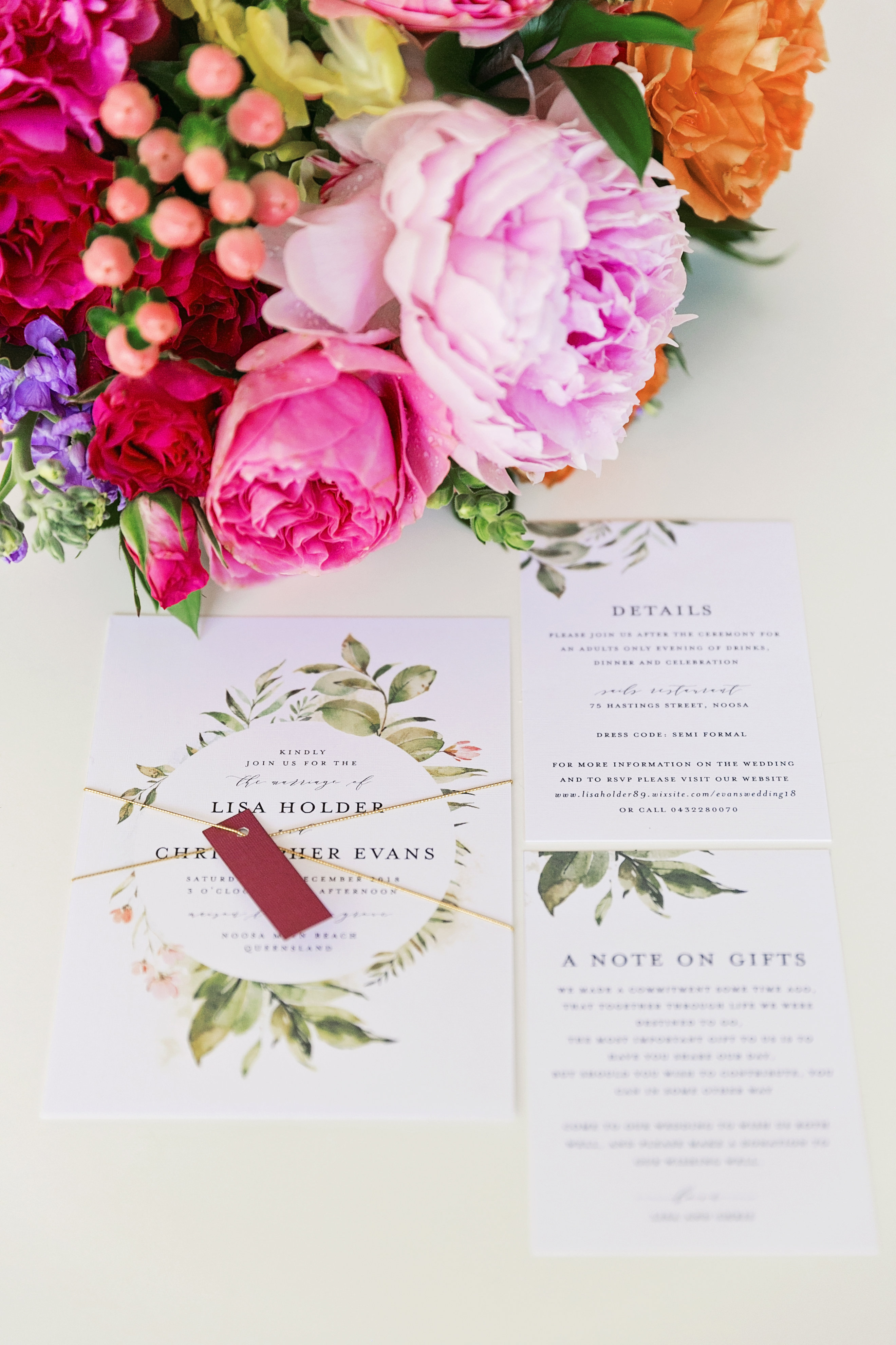 Bright wedding flowers and coastal details Sunshine Coast