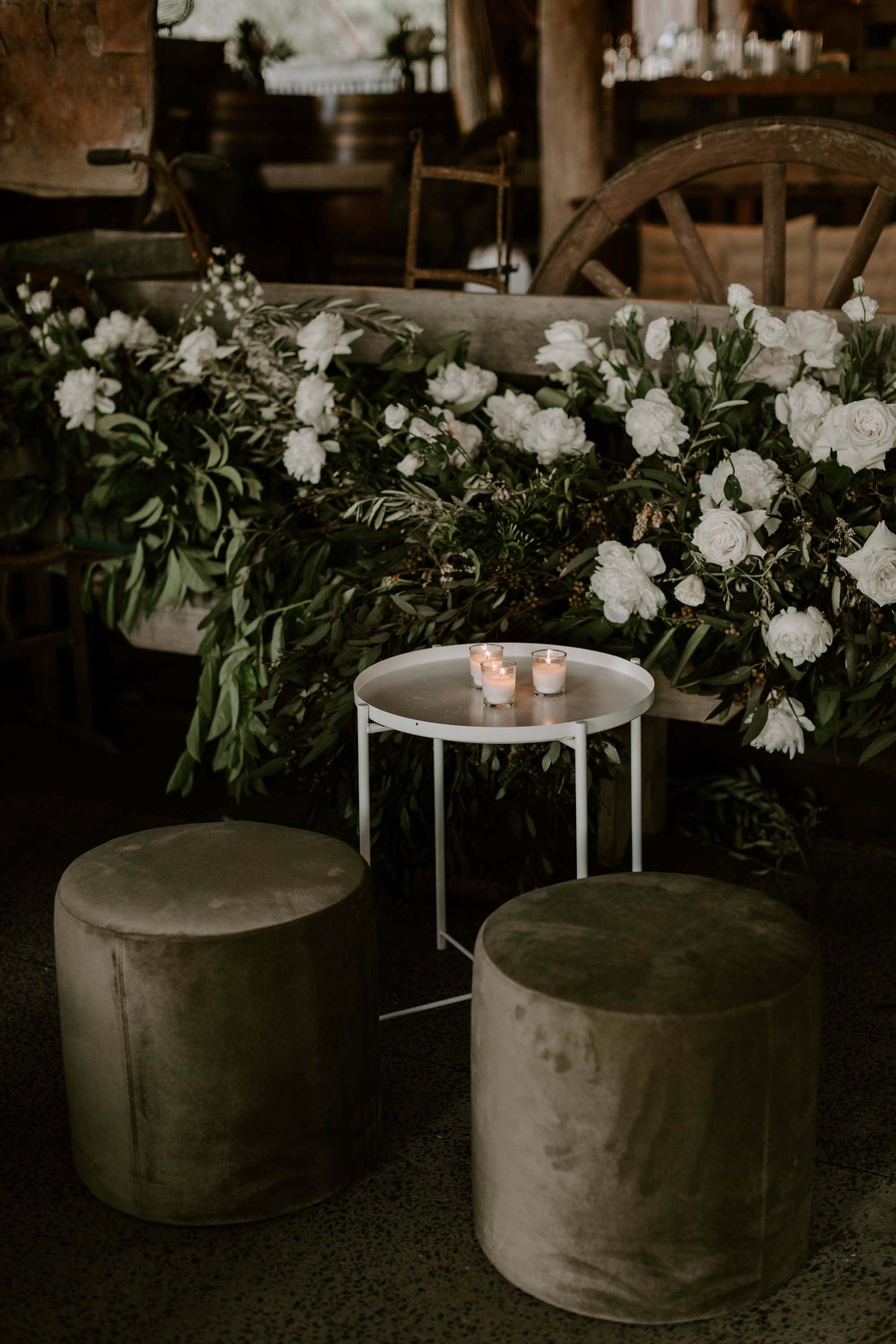 Chill out area flowers featuring white roses