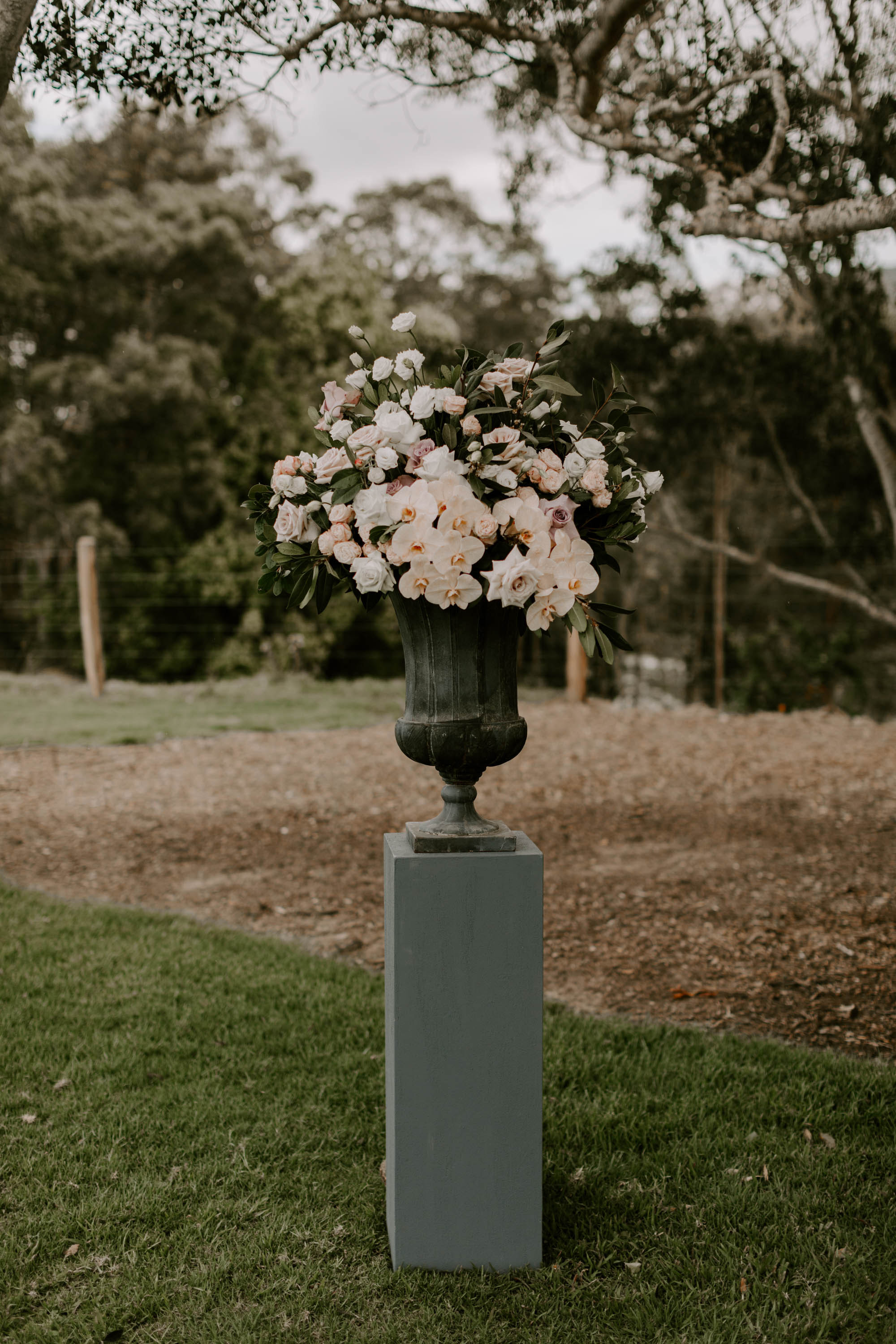 Modern ceremony urn featuring orchids