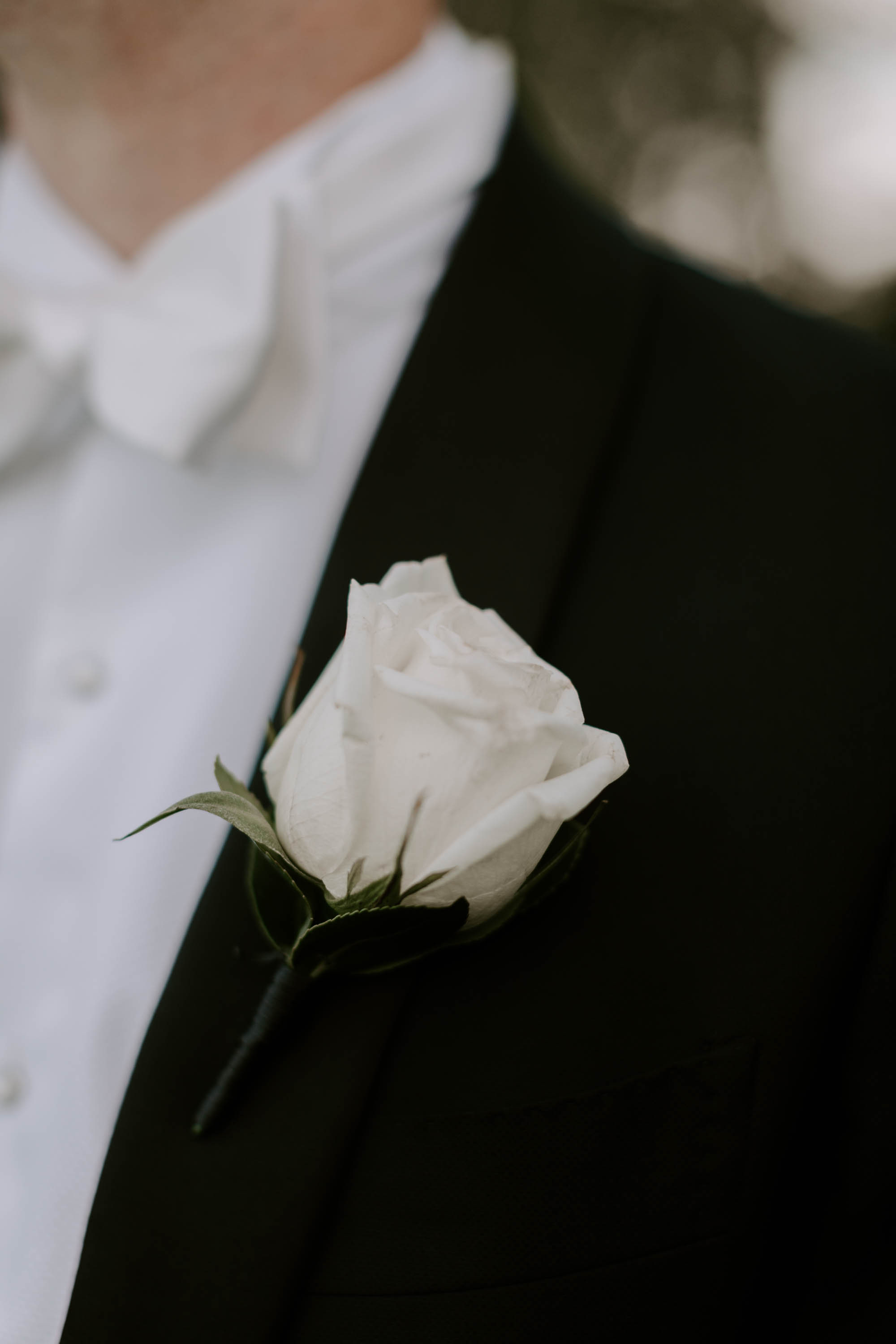 White rose buttonhole design