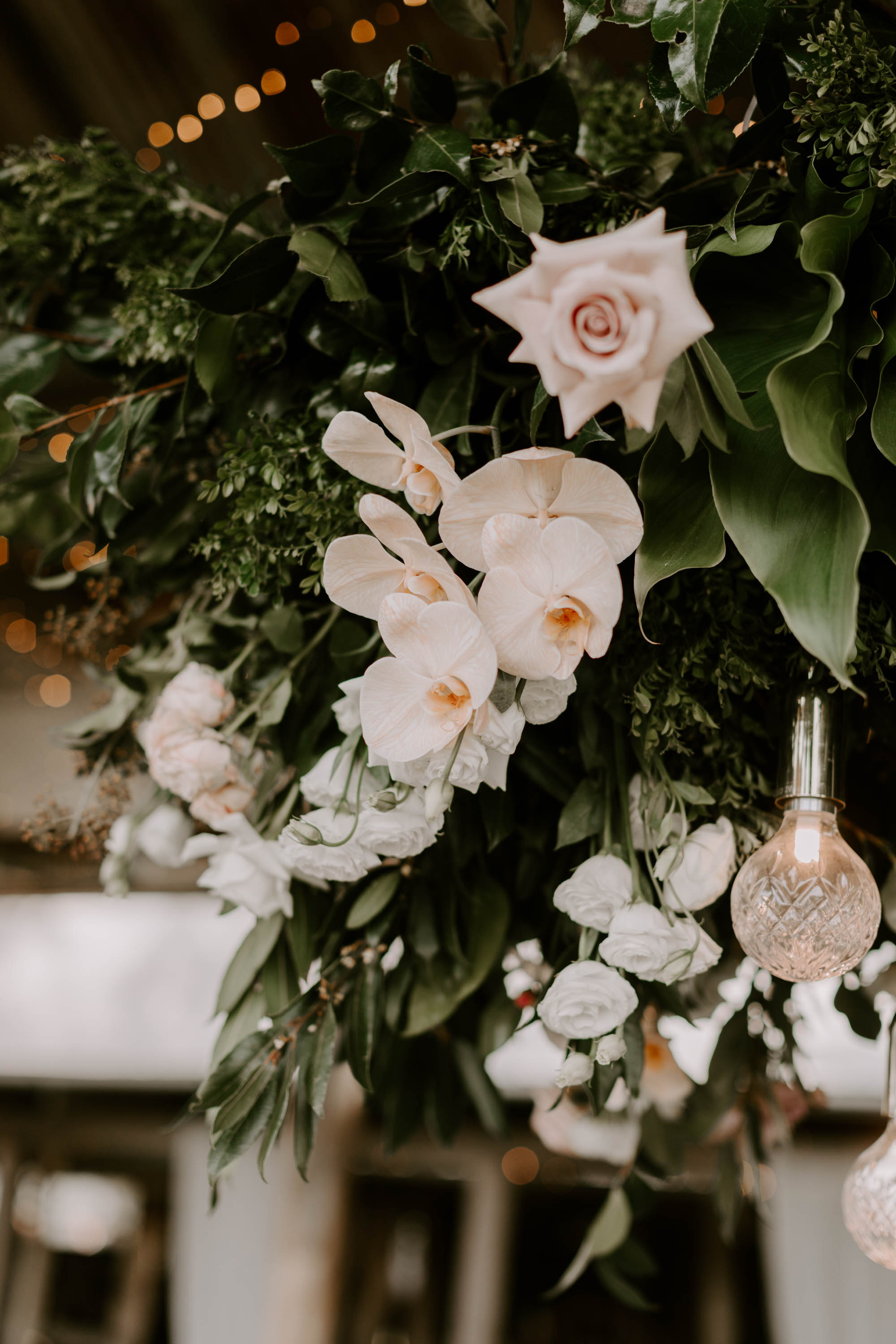 Hanging installation featuring lush greenery and orchids