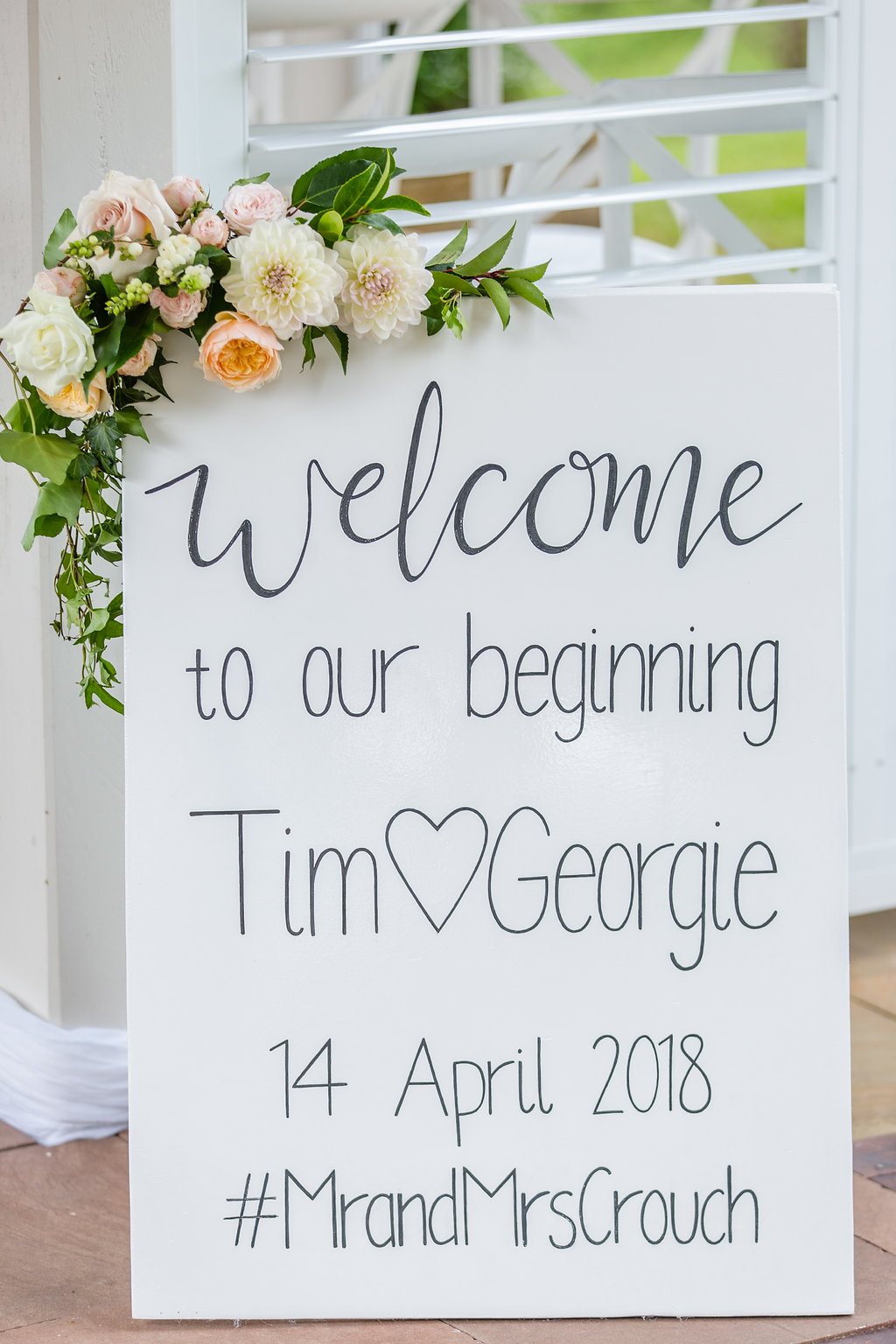 Entry sign floral in pretty pastel tones