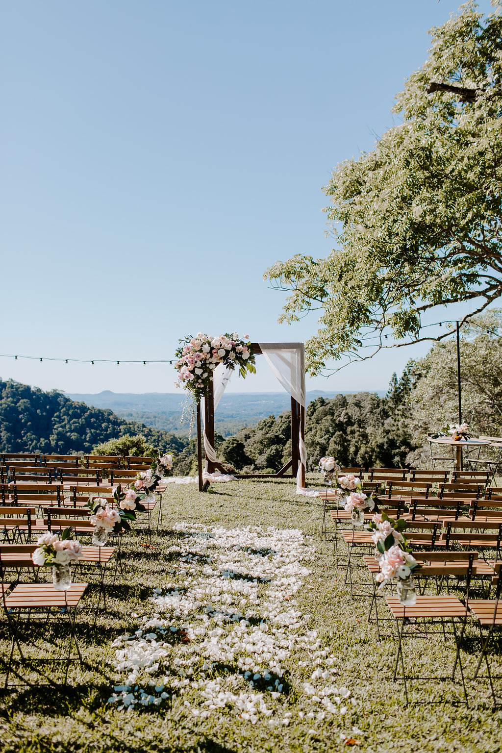 Ceremony arbour floral in soft pastel tones
