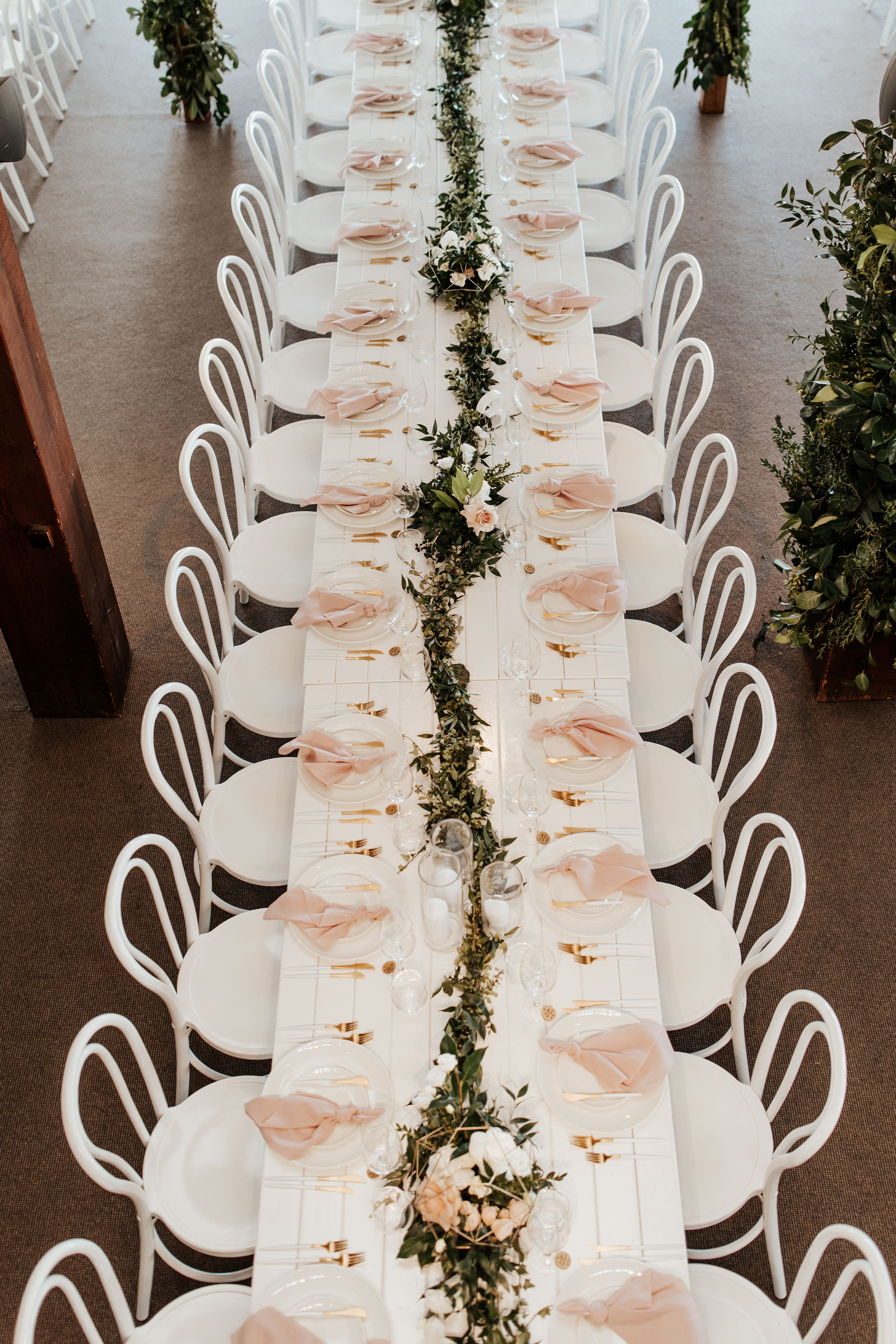 Greenery Reception Style with Antique Pink and White Wedding Flowers