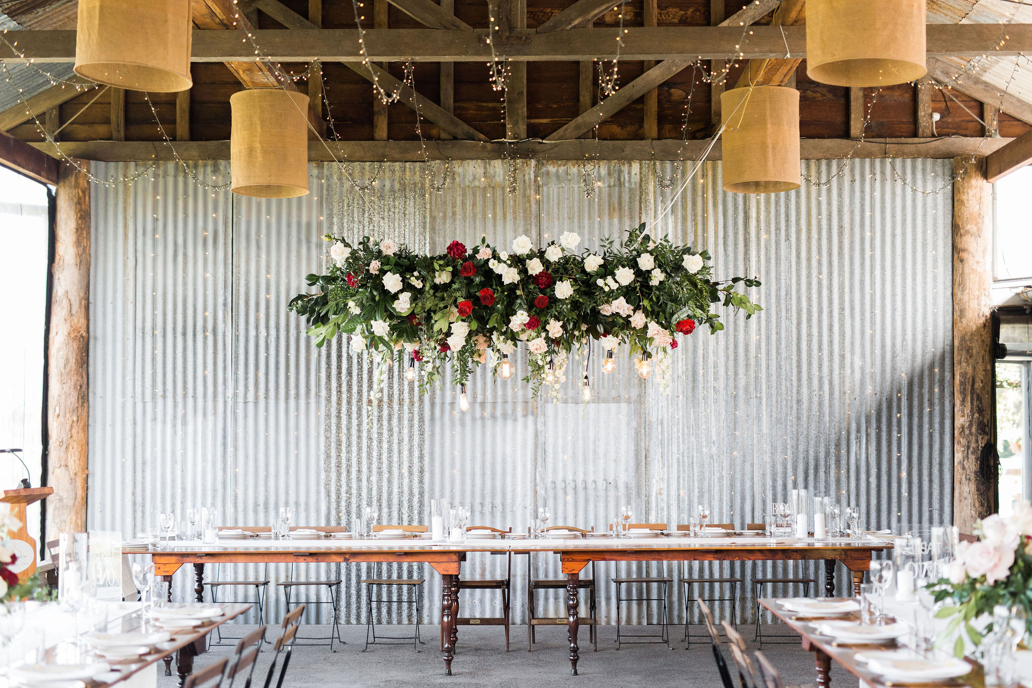 Yandina station modern wedding with ceremony on the viewing deck