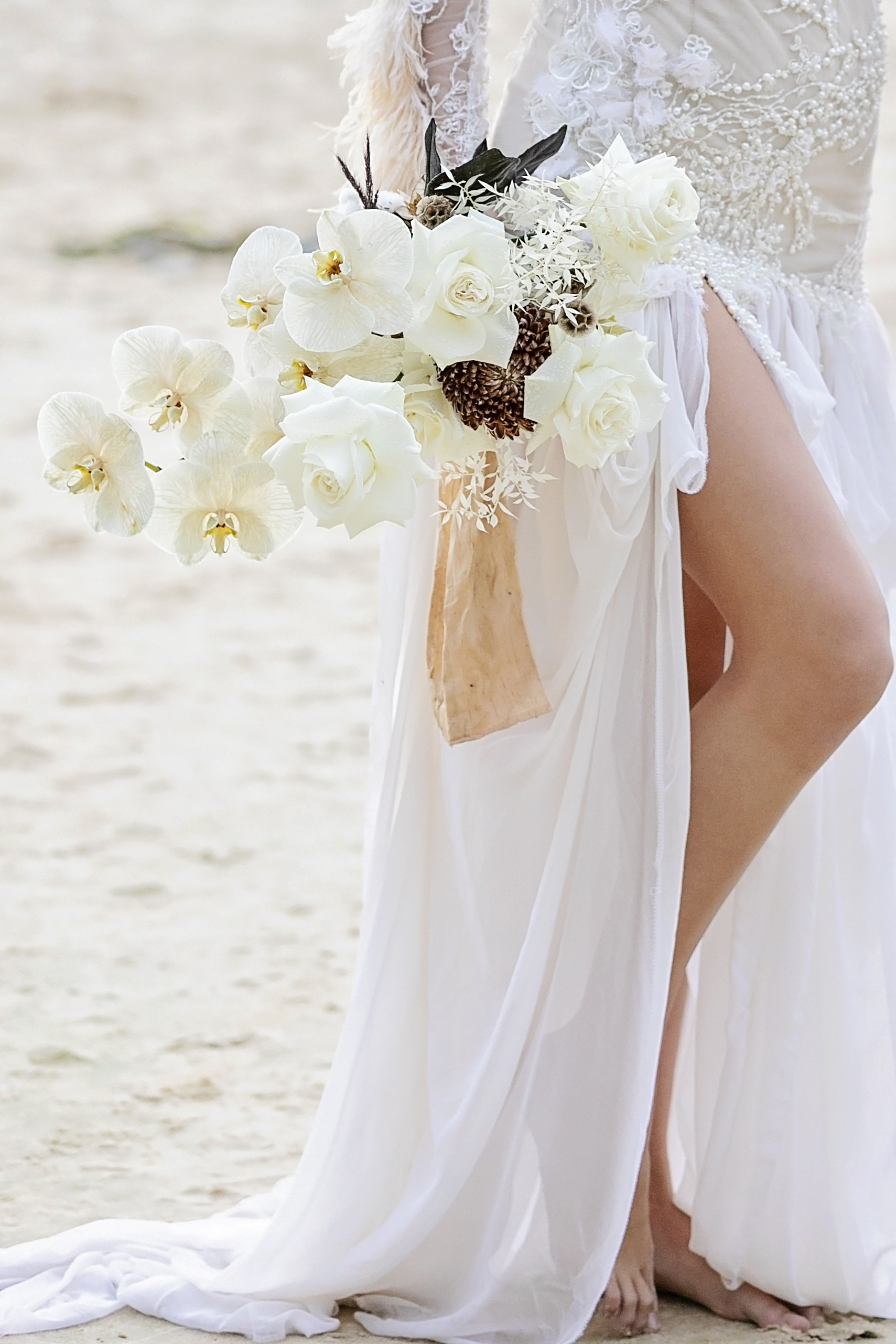 Noosa Wedding Inspiration With Modern White Roses and Orchids